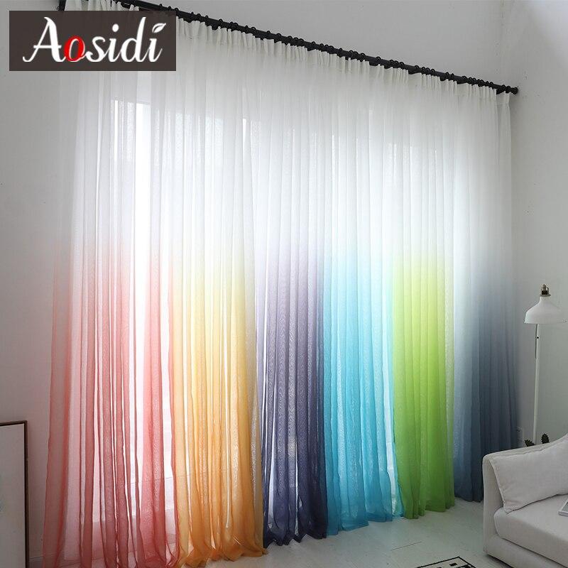 Cortinas modernas de tul con degradado para ventana de color para sala de estar, dormitorio, cortinas de gasa de organza, decoración para Hotel, cortinas transparentes azules