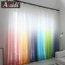 Modern gradient color window tulle curtains for living room bedroom organza voile curtains Hotel Decoration blue Sheer curtains(China)