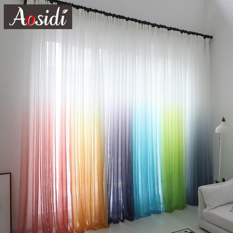 Moderne Farbverlauf Fenster Tüll Vorhänge Für Wohnzimmer Schlafzimmer  Organza Voile Vorhänge Hotel Dekoration Blau Gardinen