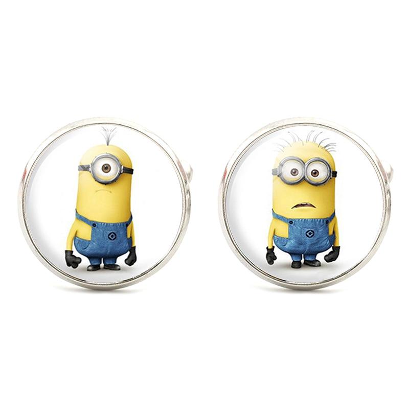 Cute Minion Design Silver Cufflinks