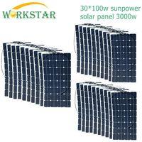 30*100W Sunpower Flexible Solar Panel 18V 100w Solar Module Charger for RV/Boat 2000w Solar Power System
