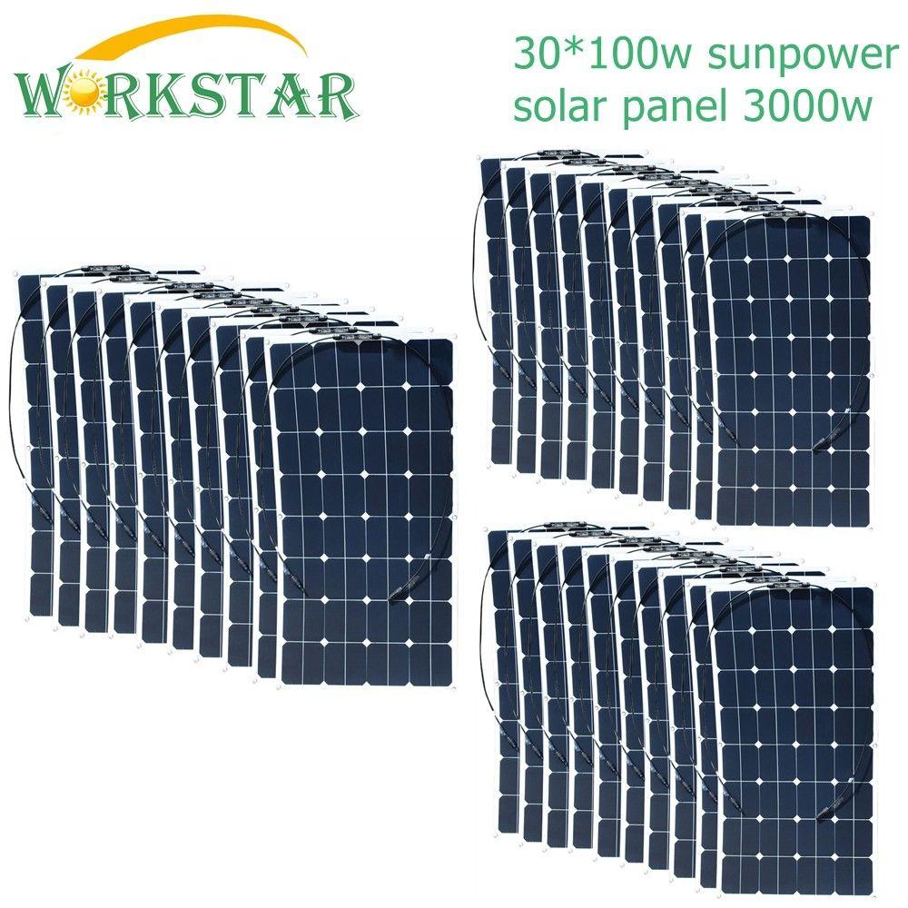 Workstar 30*100W Sunpower Flexible Solar Panel 18V 100w Solar Module Charger for RV/Boat 2000w Solar Power SystemWorkstar 30*100W Sunpower Flexible Solar Panel 18V 100w Solar Module Charger for RV/Boat 2000w Solar Power System