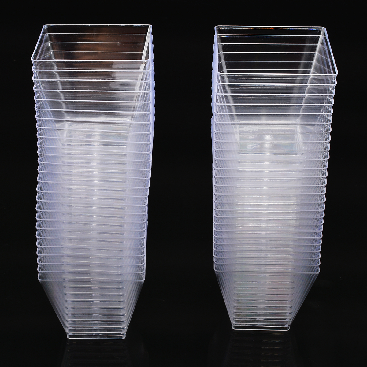 50pcs 2oz/60ml Disposable Square Cup Plastic Food Cup For Cake Dessert Cups Cube Pudding Mousses Yougurt Jelly Container