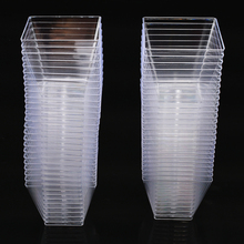 50pcs 2oz/60ml Disposable Square Cup Plastic Food for Cake Dessert Cups Cube Pudding Mousses Yougurt Jelly Container