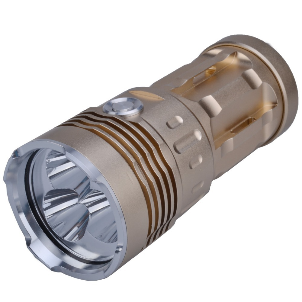 SingFire SF-134 3 x Cree XM-L T6 2000lm 3-Mode Tactical Led Flashlight - Golden +Silver (4 x 18650 Battery) uitrafire af 13 250lm 3 mode white zooming flashlight w cree xp e q5 black golden 1 x 18650