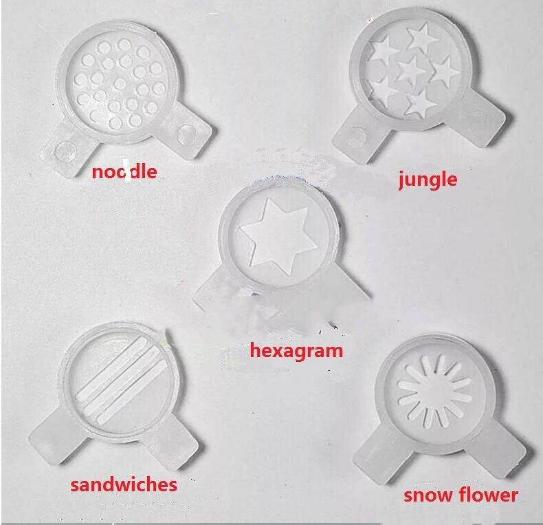 Ice Cream Maker Parts 5 In 1 Plastic Nozzle Kit Snow Flower Jungle Noodle Hexagram Sndwiches