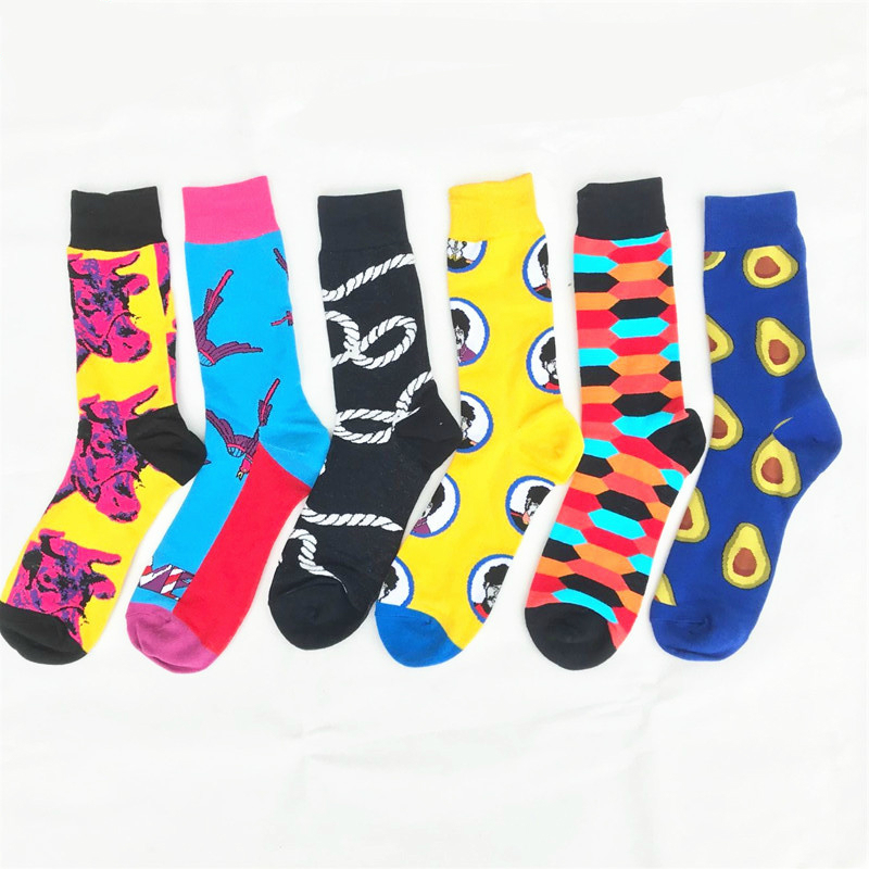 PEONFLY Casual Socks Men's Combed Cotton Socks Avocado Rope Pattern Comfortable Funny Colorful Plaid Happy Socks