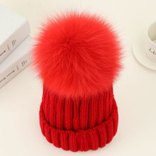 Mink And Fox Fur PomPoms Winter Hat For Women Hat Knitted Beanies Cap Hats Red Thick Warm Cap Brand Girl 's Winter Hat Female 2016 hot selling lady s the new mink fur mink hat knit cap children winter thickening warm winter hat free shipping 3color sd21