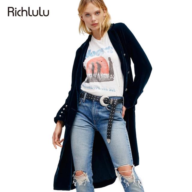 RichLuLu Sólido Azul Mujeres Outwears de Terciopelo Doble de Pecho Delgada Capa de Foso de La Vendimia Elegante de Manga Larga Vuelta-abajo al Collar Abrigo