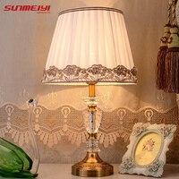 Современные хрустальные настольные абажур для лампы de настольные лампы Европа краткое кристальная прикраватная лампа abajur sala световая ламп
