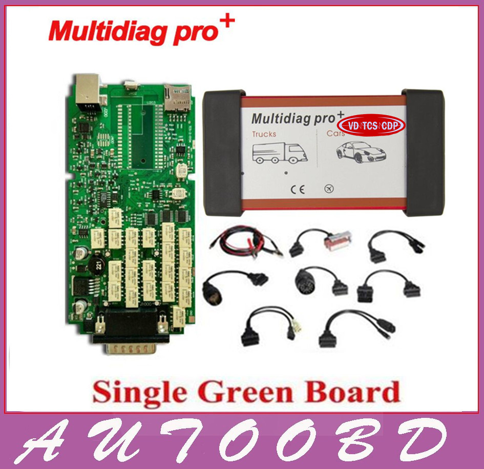 DHL free ship A++quality Single Green Board Multidiag Pro+VD TCS CDP Pro Without Bluetooth for Car&Truck +Full Set 8 car cables 5 psc lot diagnostic tool connect cable adapter for tcs cdp plus pro obd2 obdii truck full 8 trucks cables for cdp by dhl free