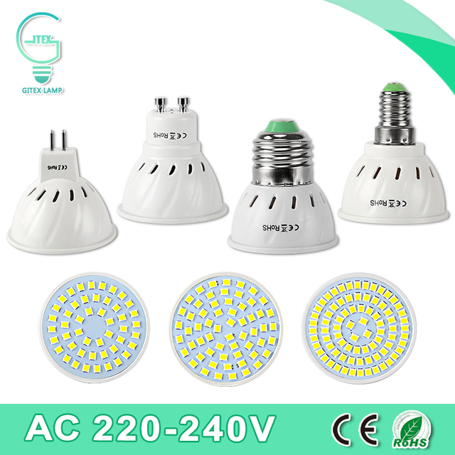 Led Spotlight Bulb Gu10 Mr16 E27 E14 Bombillas Lampara Ampoule Led