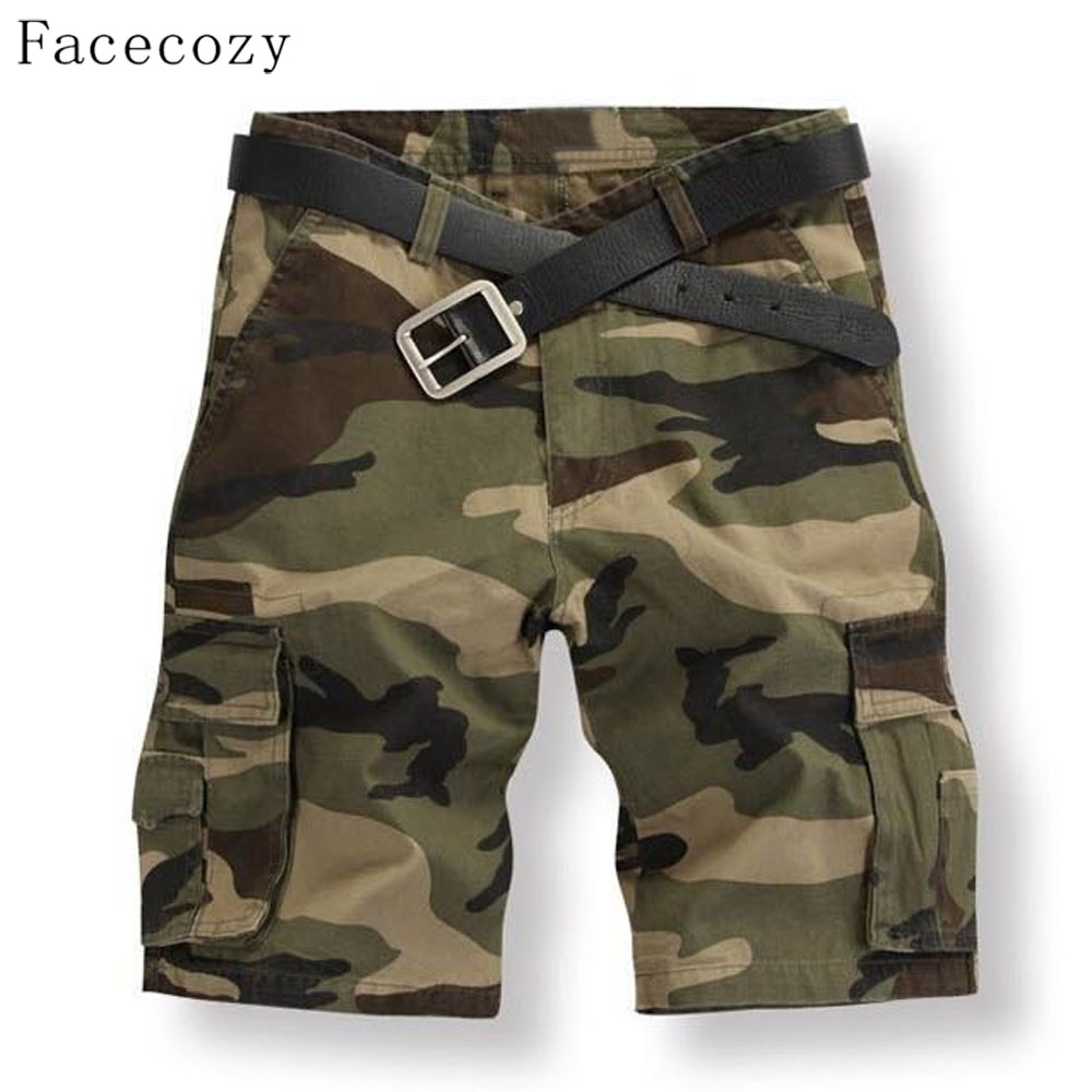 Facecozy Men Summer Camouflage Sports Shorts Male Outdoor Tactical Military Fishing Short Trouser With Multi-pockets