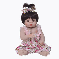 55cm Full Body Silicone Reborn Baby Doll Girl Newbron Lifelike Baby Reborn Princess Doll Birthday Christmas Gift Girl Brinquedos