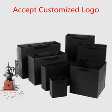 Wholesale 500pcs lot Hot Selling Luxury Recycled black Paper shopping bags custom company logo boutique gift