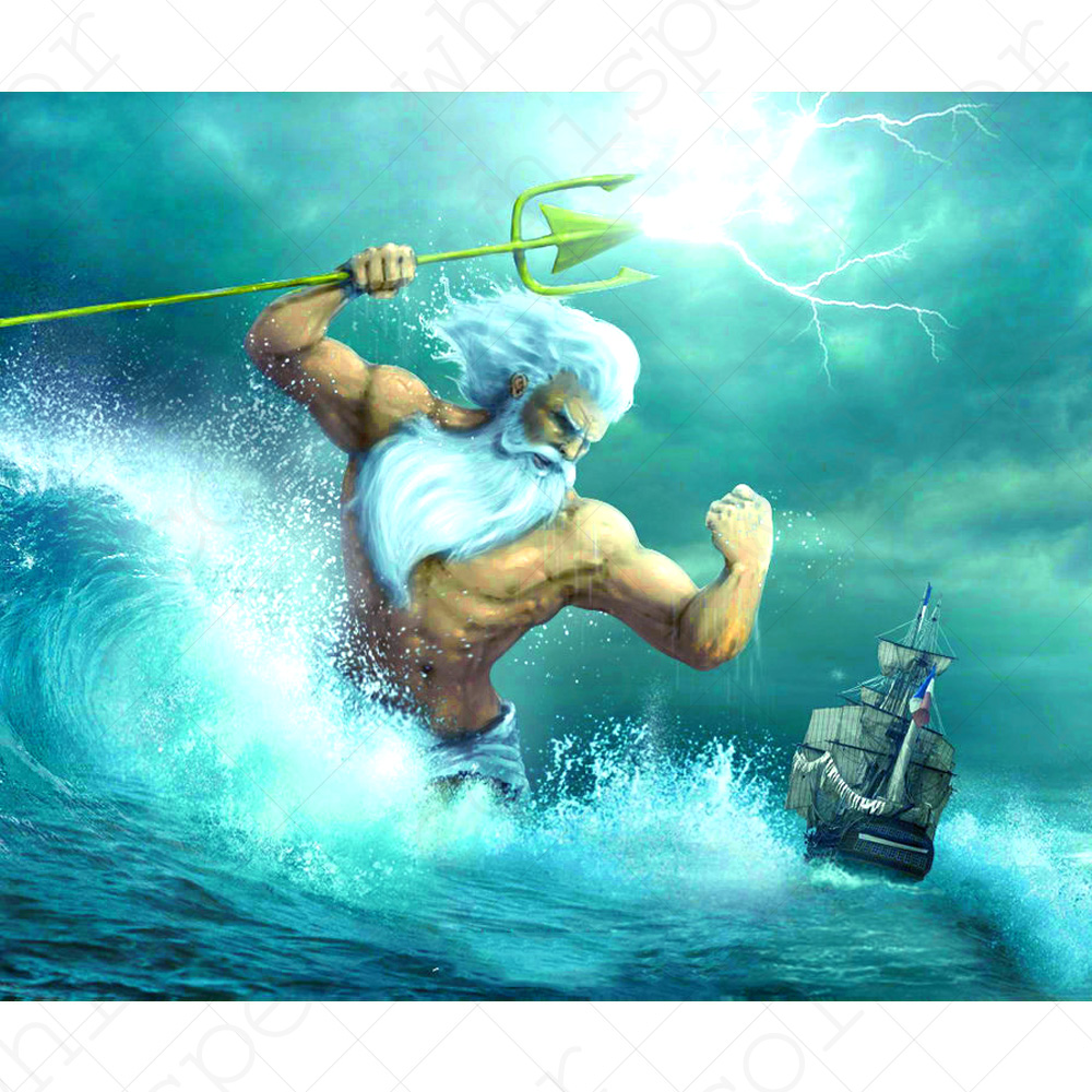 Us 5 2 41 Off Diamond Painting Poseidon 5d Full Square Drill Daimond Painting Of Greek Mythology Diamond Embroidery For Home Decor Le00804 In