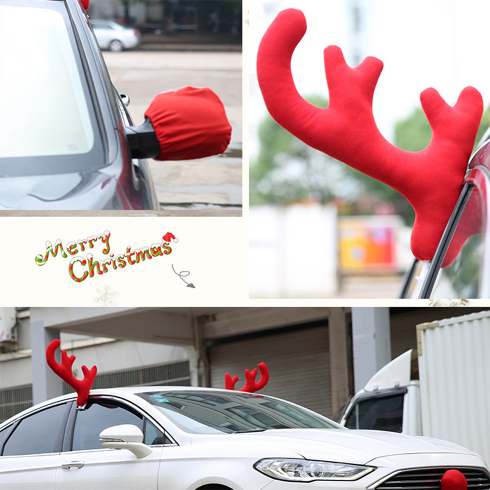Reindeer Christmas Decor Car Vehicle Nose Horn Costume Set Rudolf Christmas Reindeer Ant ...