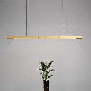 Image 2 - Willlustr LED עץ Talo תליון מנורת אגוז ארוך בר השעיה צינור אור משרד ישיבות אוכל חדר מלון וילה דלפק אור