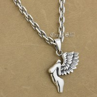 925 Sterling Silver Naked Wing Angel Fashion Pendant 9S116A 92.5% Sterling Silver Necklace 24 inches