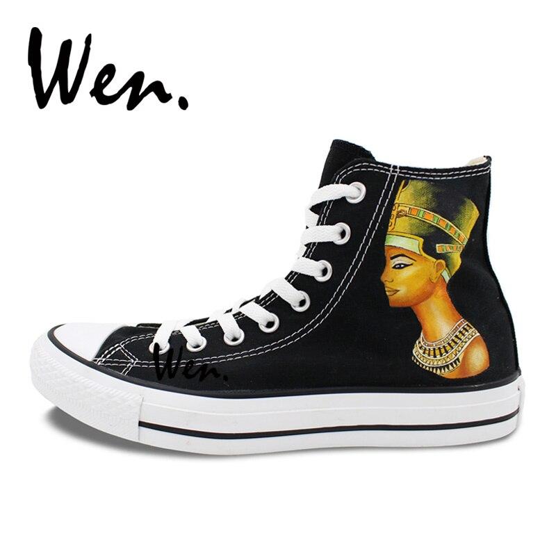 Wen Hand Painted Shoes Design Custom Egyptian Pharaoh Queen