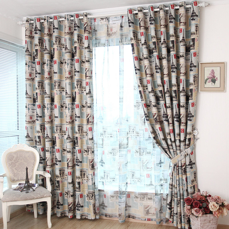 European Style Eiffel Tower Printed Curtain Polyester Blockout Cloth Curtain for Boy Bedroom Study
