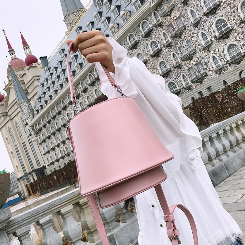 Bucket Bag Shoulder Bag PU Leather Handbags Solid Crossbody Bags