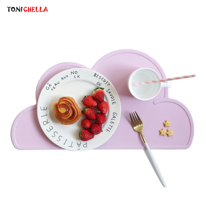 Infant Food Feeding Placemat Children Silicone Table Mat Cloud Shape Baby Non Slip Bib Antiskid Tray Toddler Dishes T0521