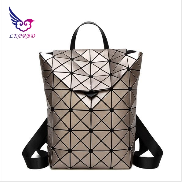 lkprbd 2018 new women's shoulder bag, Japanese same brand geometric rhombus backpack, female fashion bag travel bag