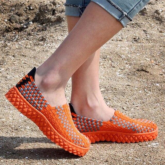 Дышащий Переплетения Обувь Женская Супер Легкий Воздух Сетки Повседневная обувь Мужская Стретч Ткань Плоские Туфли Резинка обуви Большого размера