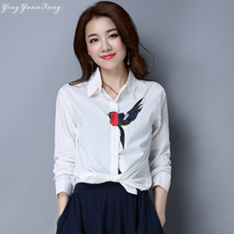 YingYuanFang New fashion women's art bird  long sleeves loose collar shirt