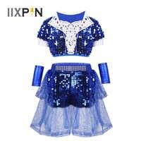 IIXPIN Kinder Jazz Dance Kostüm Gilrs Hip-Hop Dancewear Outfit Glänzenden Pailletten Kurzen Ärmeln Crop Top mit Shorts Handgelenk-Ärmeln set