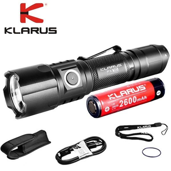 KLARUS FX10 CREE XP-L HI V3 LED max 1000 lumen beam throw 300 meter USB rechargeable torch flashlight with 2600mAh battery fenix hp25r 1000 lumen headlamp rechargeable led flashlight