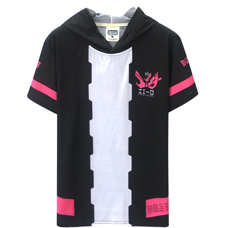 Anime Kamen Rider Zi-O Cosplay Costume Summer Hooded T Shirt Short Sleeve Unisex Daily Pullover Tee Tops Fashion T-shirt