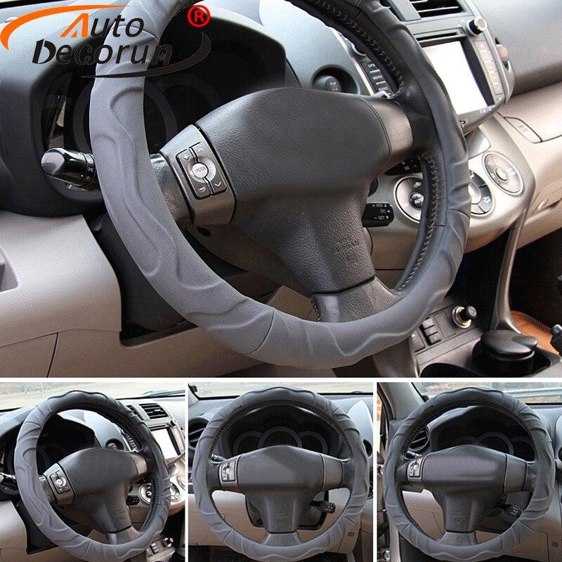 Autodecorun Faux Lambskin Car Steering Wheel Covers