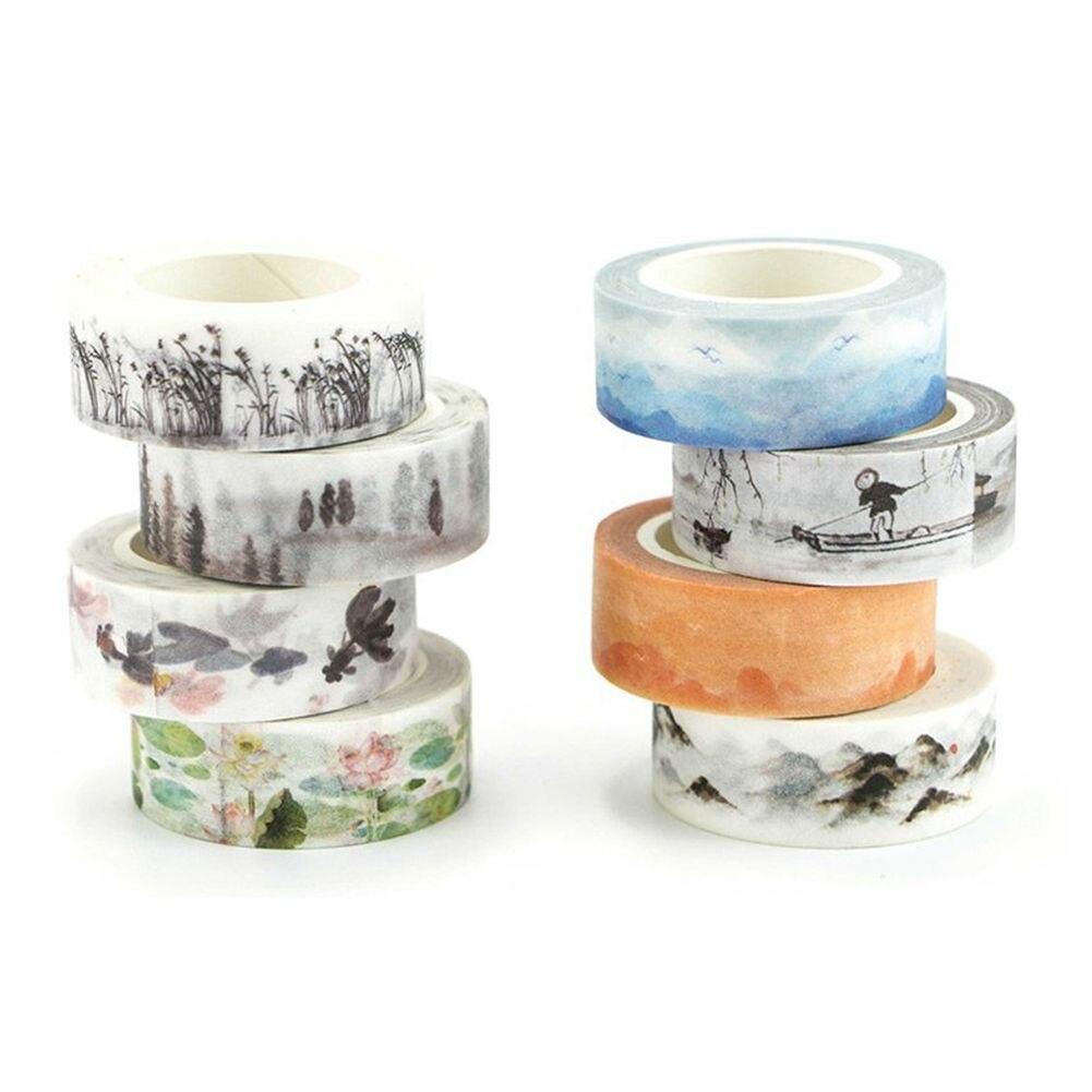 Set of 8 Decorative Washi Masking Adhesive Tape - Theme Chinese Ink and wash painting Series