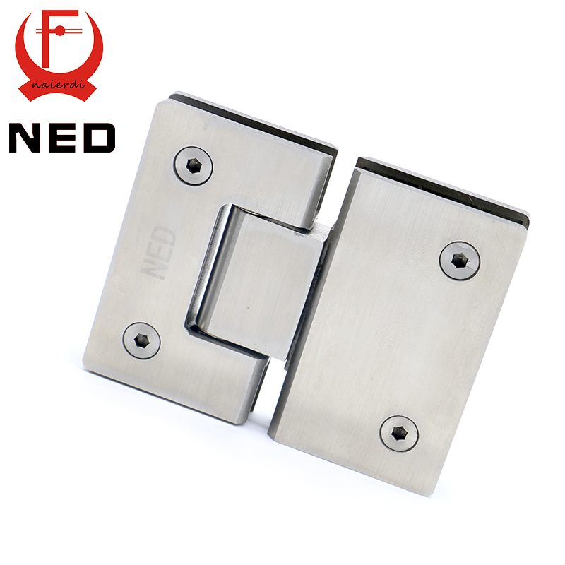 NED-4904 180 Degree Hinge Open 304 Stainless Steel Wall Mount Glass Shower Door Hinges For Home Bathroom Furniture Hardware 4pcs naierdi c serie hinge stainless steel door hydraulic hinges damper buffer soft close for cabinet kitchen furniture hardware