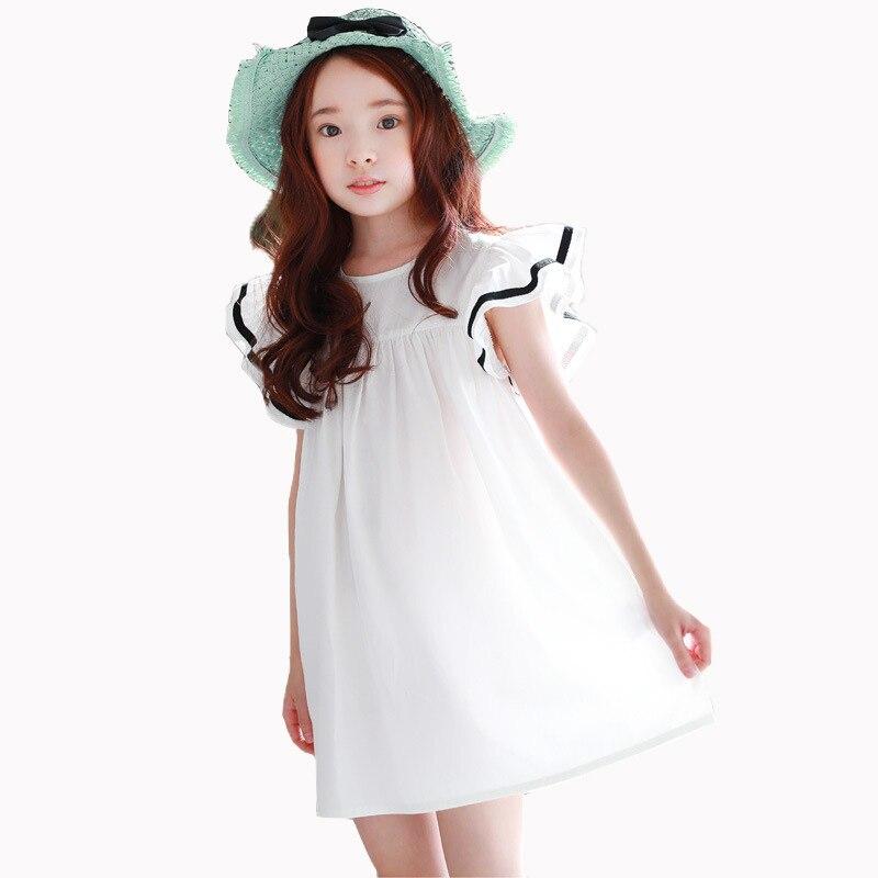 Детские платье для девочек 2018 Летнее белое пляжное платье с оборками с летящими рукавами Платья для женщин для детей милый в Корейском стил...