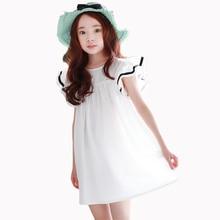 Baby girls dress 2018 Summer White Beach Dress Ruffle Fly Sleeve Dresses For Kids Cute Korean Toddler Teens Children Clothing