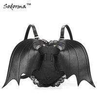 Gothic punk style Black Bat Wing Heart shaped women's PU leather backpack shoulder bag zipper closure