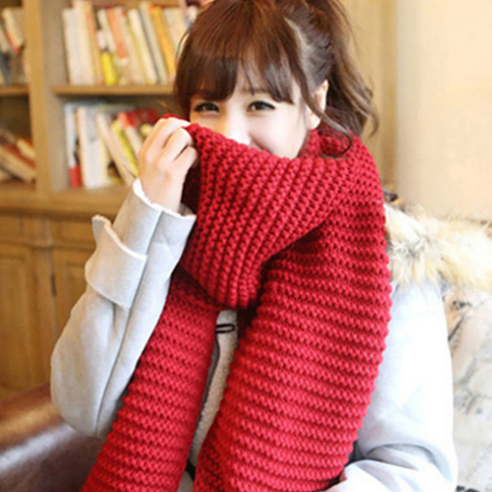 Unisex Winter Fashion Solid Color   Scarves     Wraps   Knitted Large Long Couple   Scarf