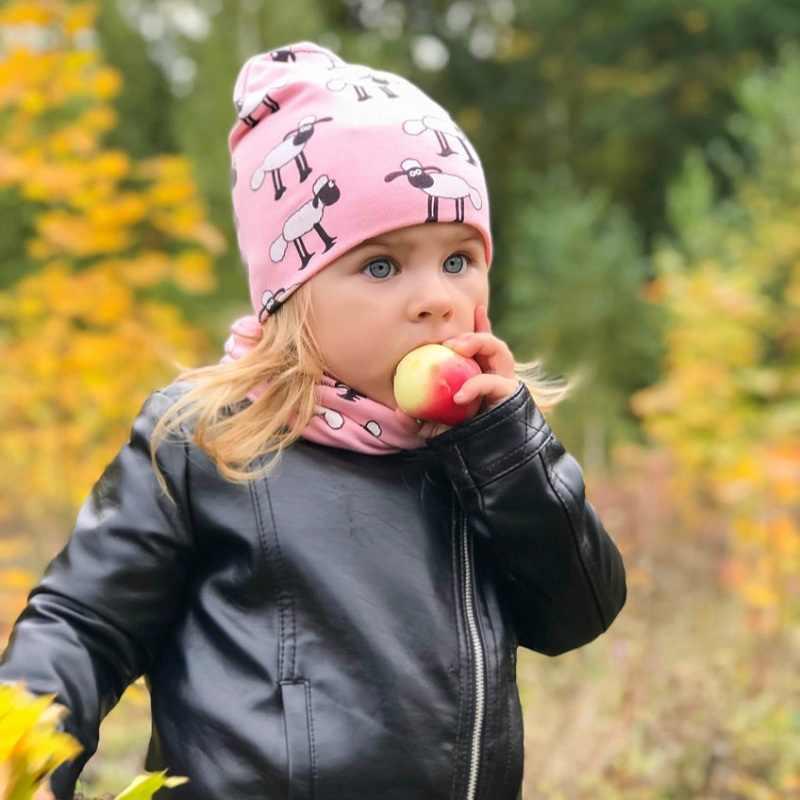 หมวกเด็กพิมพ์สัตว์ฝ้ายหมวกเด็กหมวกเด็กหมวกผ้าพันคอ 2 ชิ้นชุดสำหรับทารกเด็กเด็กฤดูหนาวหมวก