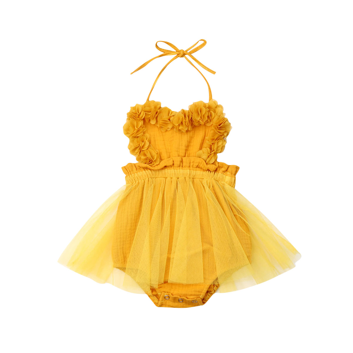 0-18M Newborn Baby Girl Tulle Romper Dress Yellow Solid Lace Sleeveless Belt Jumpsuit Outfits Summer Clothes US Stock