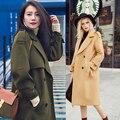 2017 Novo Casaco de Lã das mulheres Casaco Senhora Primavera Trincheiras Blends Cashmere projeto Longa com capuz cinto Outono Inverno Alta qualidade