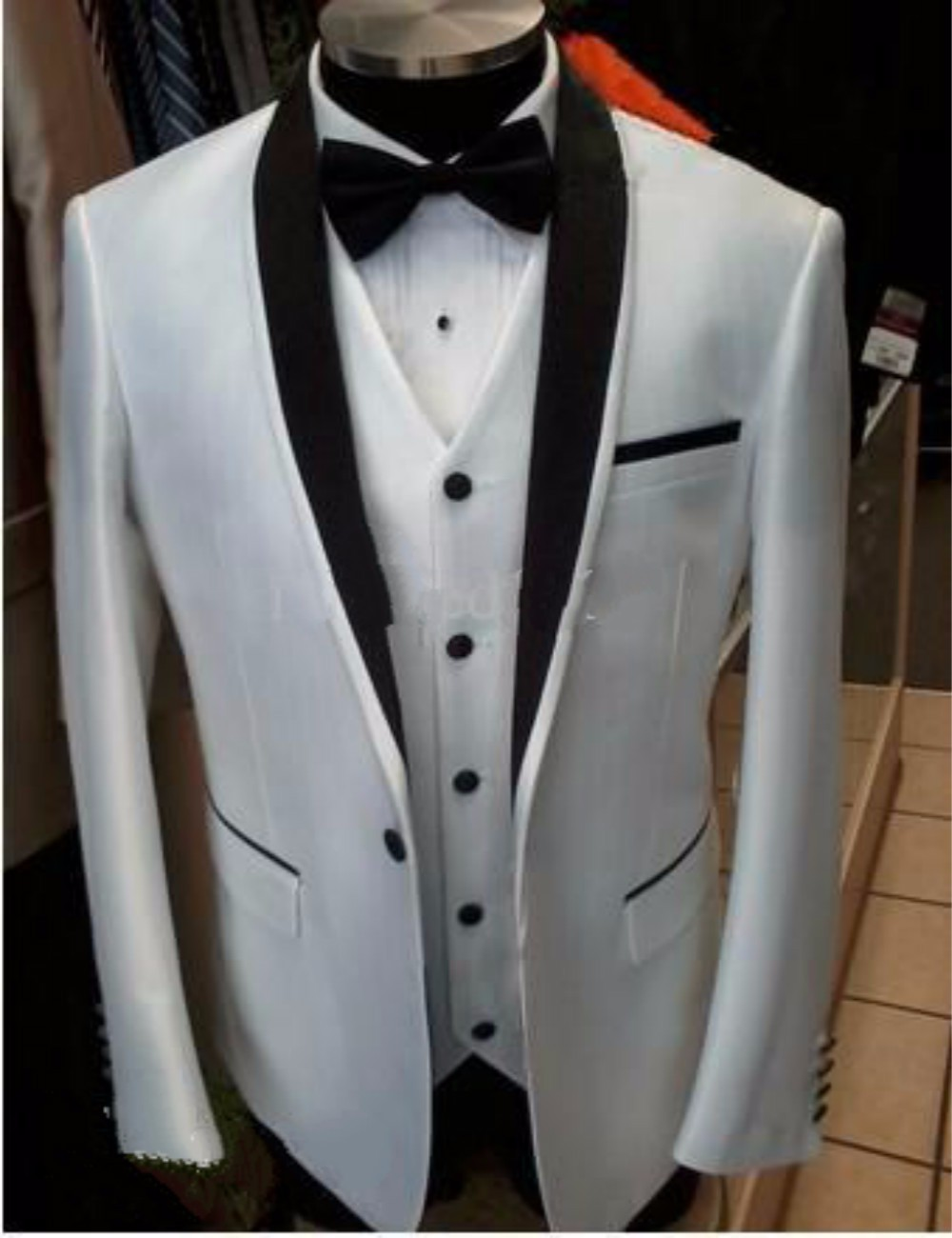Custom Design Side Slit One Button White Groom Tuxedos Black Satin Lapel Groomsman Best man Suits (Jacket+Pants+Vest+Tie) NO-169
