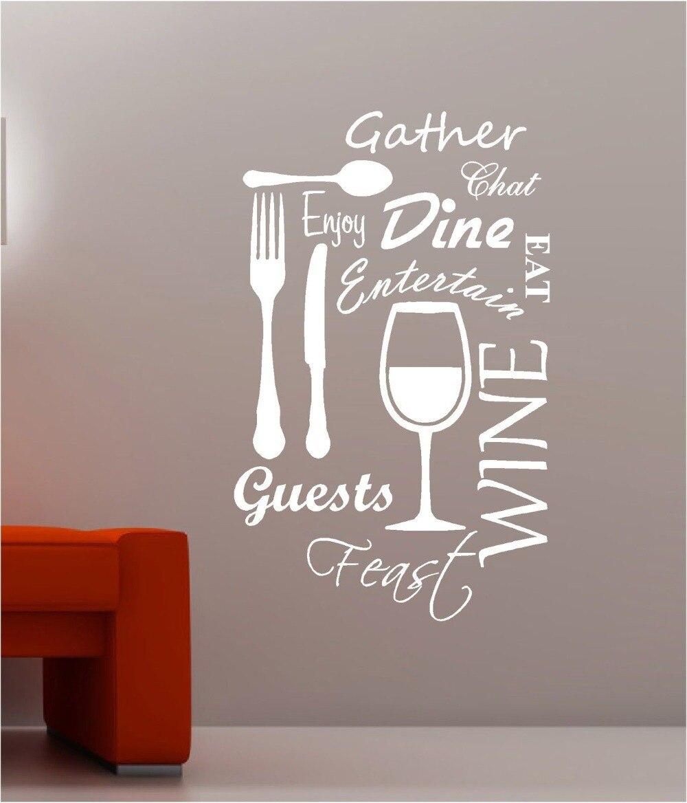 ᐂCocina palabra nube vinilo decalque de pared comedor comida vino ...