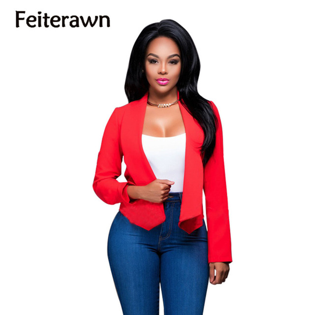 Feiterawn 2017 new arrival hot sales spring brief formal Solid color sexy lady small suit slim feel style fashion wear YM8065