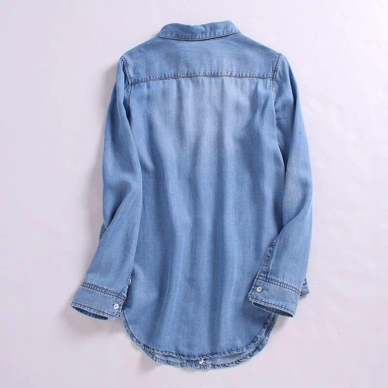 Size Casual 2018 Plus Couleur Chemisier Summer Long Deep light Printemps Femmes Chemise Tops Chemises Vintage Tencel Femelle Lâche Nouvelle Denim 2 Bleu 8wOXn0PNk