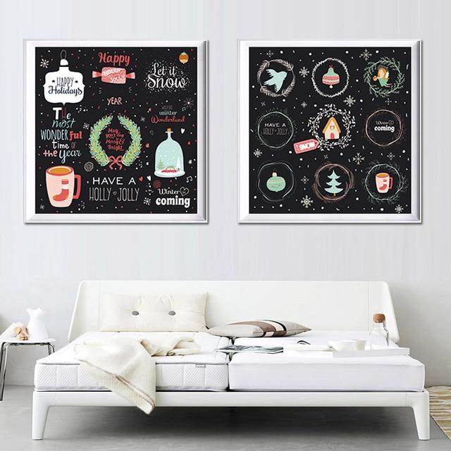 moderne canvas schilderij poster muur foto decoratie slaapkamer kinderkamer interieur vrolijk kerstavond sneeuwpop holly geen frame