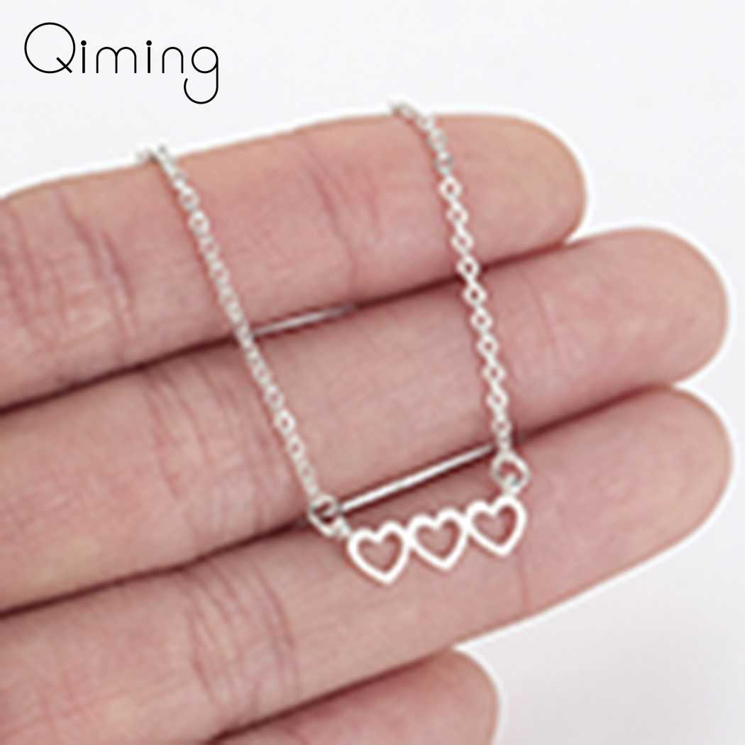 Korean Women's Heart Necklace Ladies Female Love Hearts Simple Rose Gold Love Pendant Necklace Girlfriend Gift