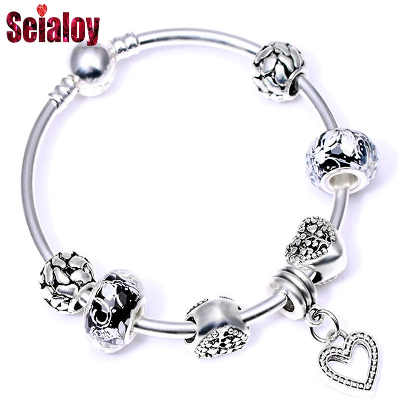 SEIALOY Fashion Silver color Cartoon Anime Animal Love Beads Brand Bracelets Bangles For Women Beaded Charm Bangle Jewelry Gift